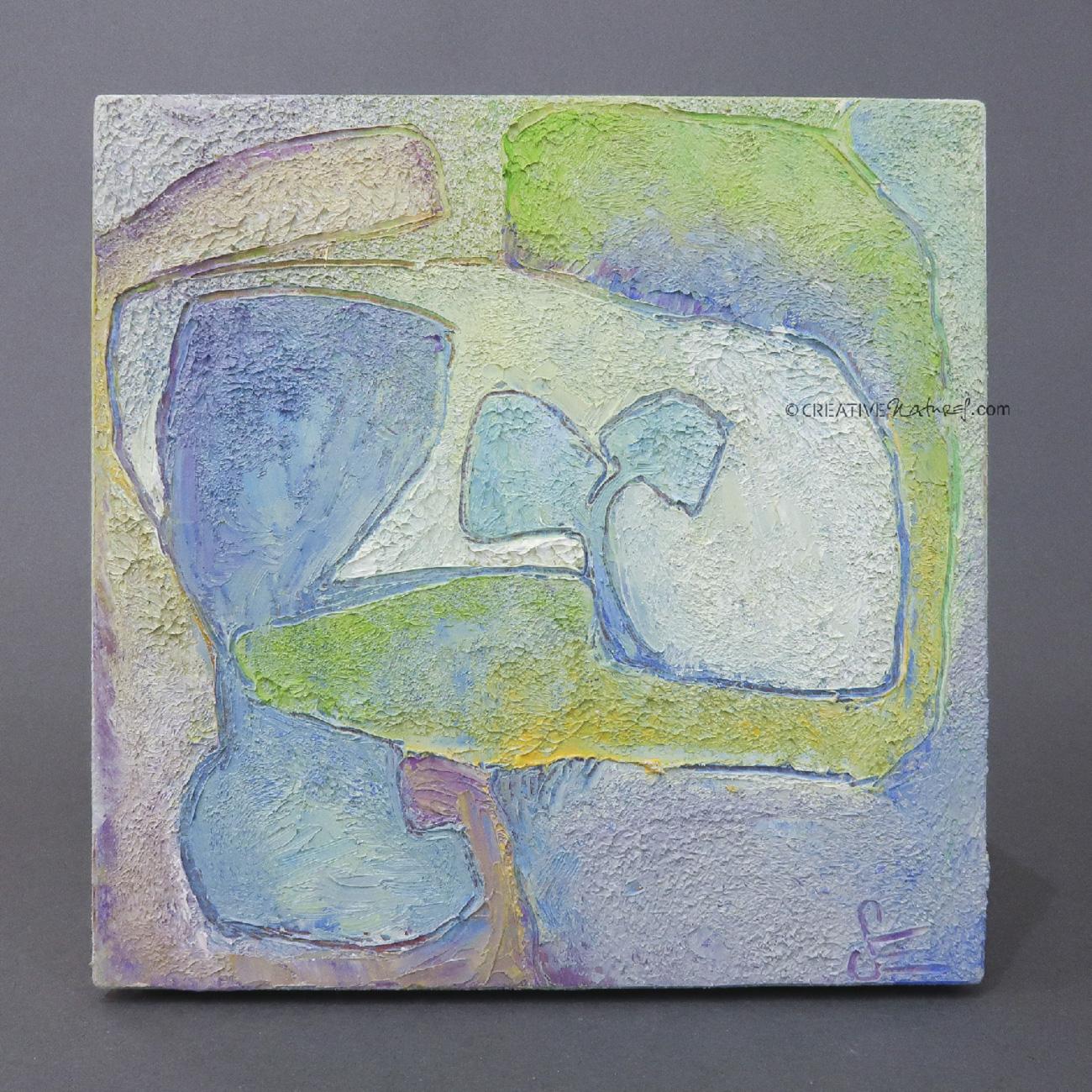 """Focusobjekt """"Gedankengarten 1"""", Draufsicht, Original Ölmalerei beidseitig bemalt, 10 x 10 x 3 cm, auf massivem Buchenholz, freistehend"""