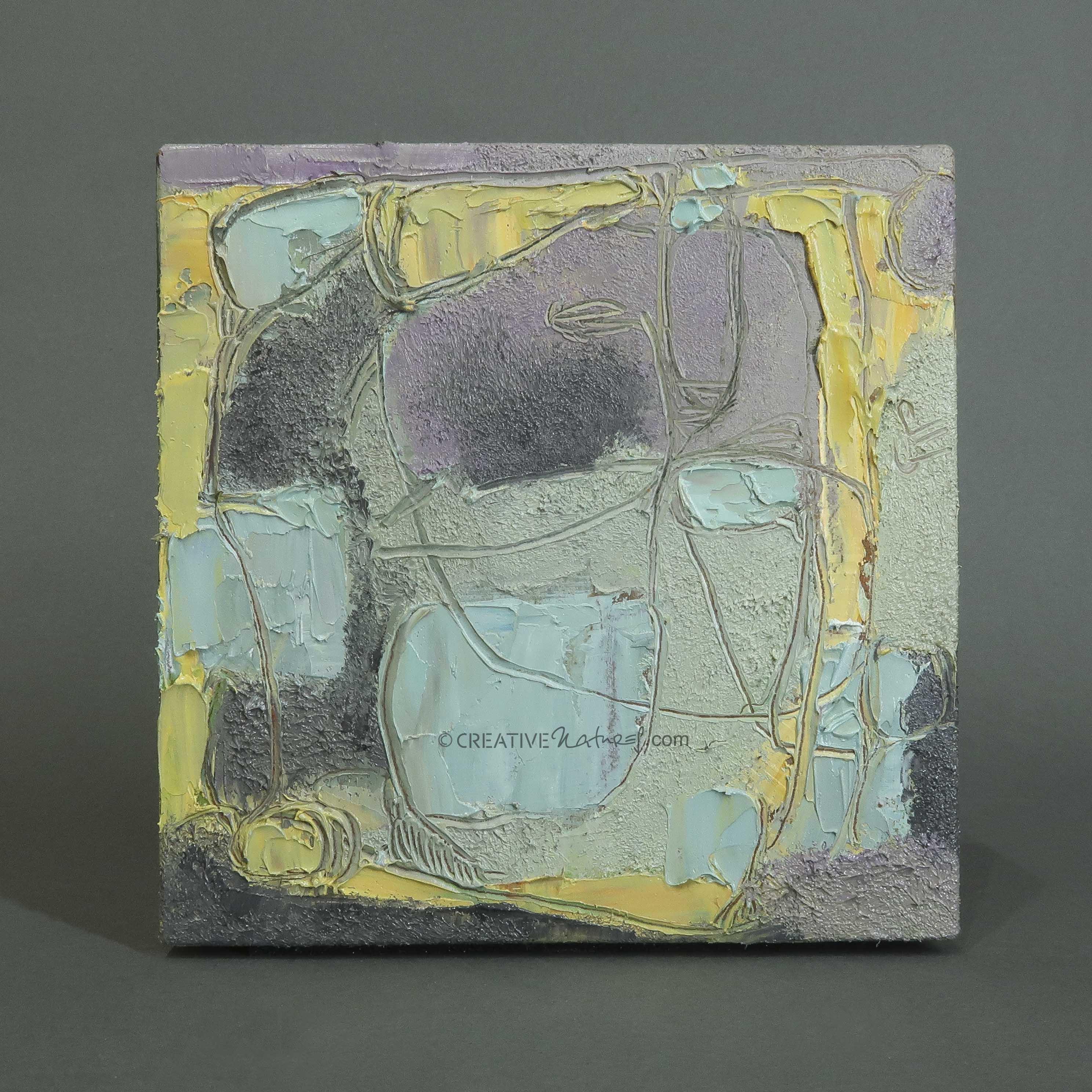 """Focusobjekt """"Gedankengarten"""" Original Ölmalerei beidseitig bemalt, 10 x 10 x 3 cm, auf massivem Buchenholz, freistehend"""