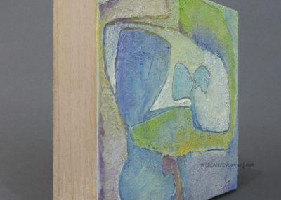 """Focusobjekt """"Gedankengarten1"""", Ansicht von links, Original Ölmalerei beidseitig bemalt, 10 x 10 x 3 cm, auf massivem Buchenholz, freistehend"""