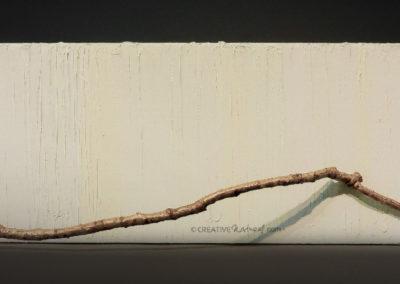 Versus, Wandobjekt, Ölmalerei mit Ast und Federn
